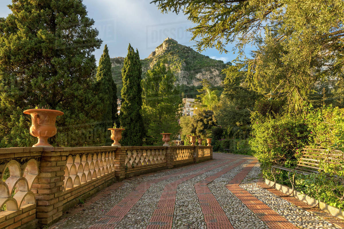 View from the public garden, Parco Duca di Cesaro, Taormina, Sicily, Italy, Europe Royalty-free stock photo