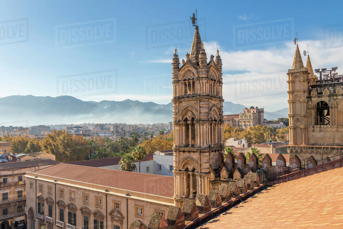View from the rooftop of the Palermo Cathedral, UNESCO World Heritage Site, Palermo, Sicily, Italy, Europe Royalty-free stock photo