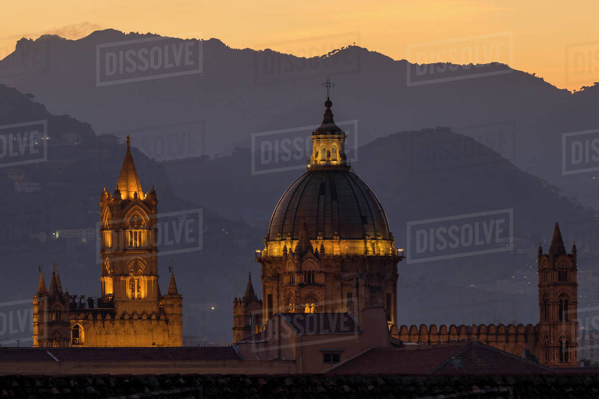 Palermo Cathedral, UNESCO World Heritage Site, at twilight, Palermo, Sicily, Italy, Europe Royalty-free stock photo