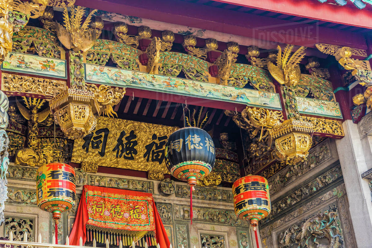 Ornate detail at the Khoo Kongsi temple, George Town, UNESCO World Heritage Site, Penang Island, Malaysia, Southeast Asia, Asia Rights-managed stock photo