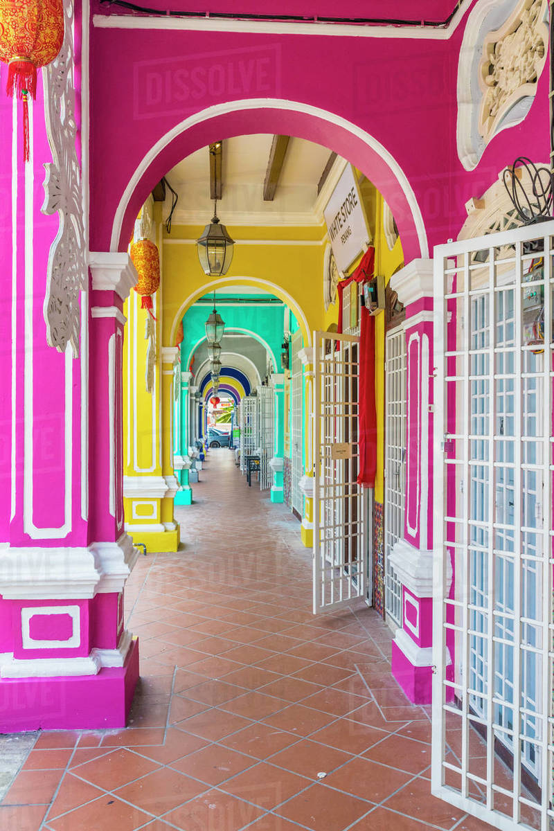 The colourful shop house architecture of Kek Chuan Jalan Road in George Town, Penang Island, Malaysia, Southeast Asia, Asia Rights-managed stock photo
