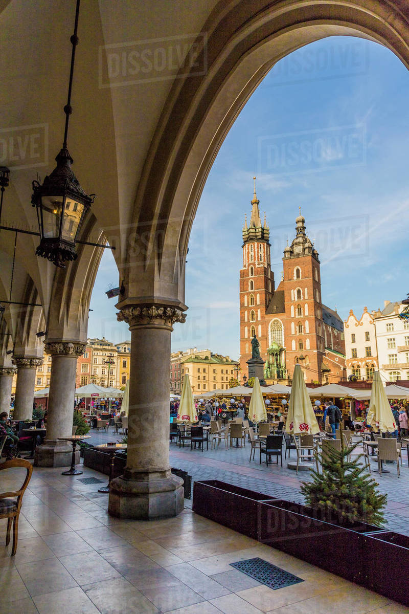 St. Mary's Basilica in the main square in the medieval old town, UNESCO World Heritage Site, Krakow, Poland, Europe Rights-managed stock photo