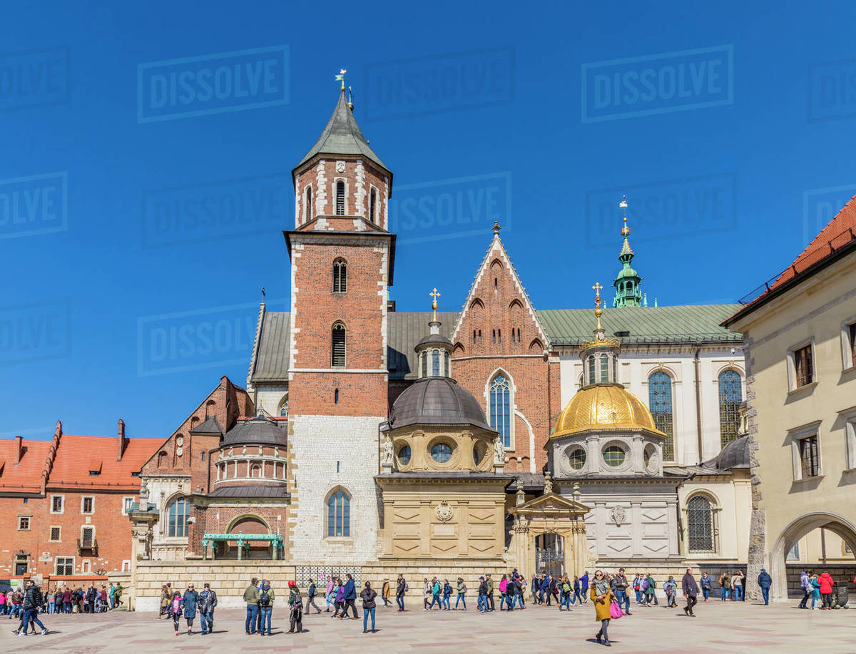 View of Wawel Cathedral at Wawel Royal Castle, UNESCO World Heritage Site, in the medieval old town, in Krakow, Poland, Europe Rights-managed stock photo