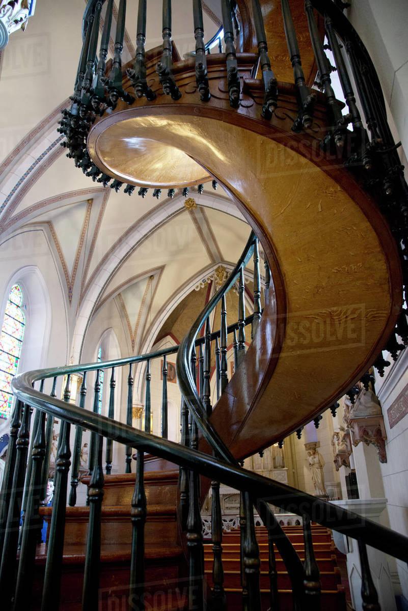 Loretto Chapel Spiral Staircase In Santa Fe New Mexico United States Of America North America Stock Photo Dissolve