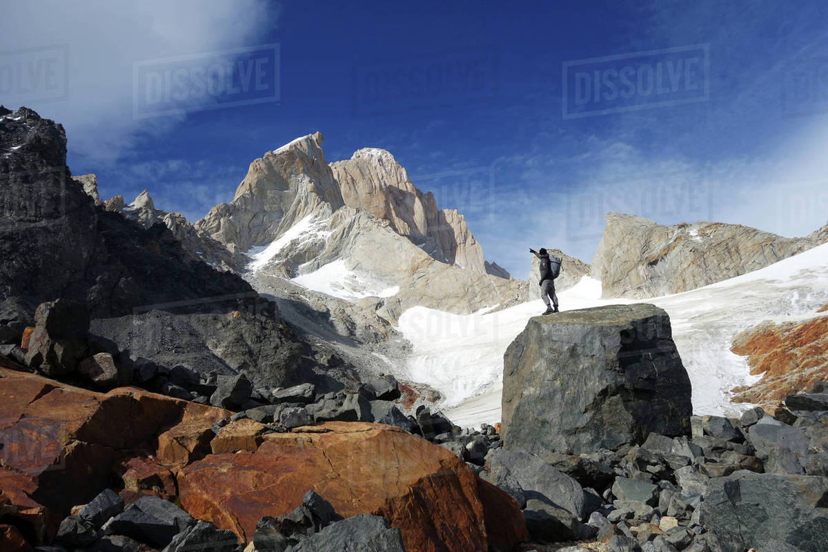 Looking up towards Monte Fitz Roy, El Chalten Massif, Argentine Patagonia, Argentina, South America Royalty-free stock photo
