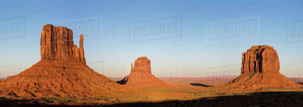 Monument Valley at sunset, Navajo Tribal Park, Arizona, United States of America, North America Royalty-free stock photo