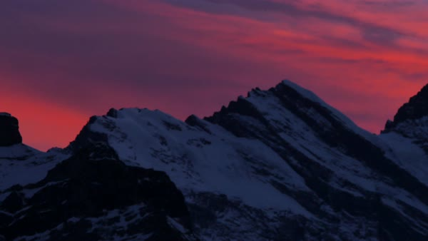 Sunset afterglow from Kleine Scheidegg, Jungfrau region, Bernese Oberland, Swiss Alps, Switzerland, Europe Royalty-free stock video