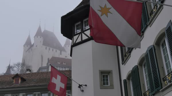 Schloss Thun and Rathausplatz, Thun, Jungfrau region, Bernese Oberland, Swiss Alps, Switzerland, Europe Royalty-free stock video