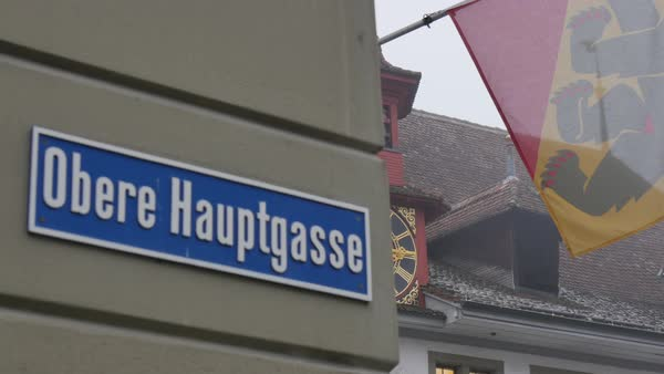 Street sign and architecture on Rathausplatz, Thun, Jungfrau region, Bernese Oberland, Swiss Alps, Switzerland, Europe Royalty-free stock video