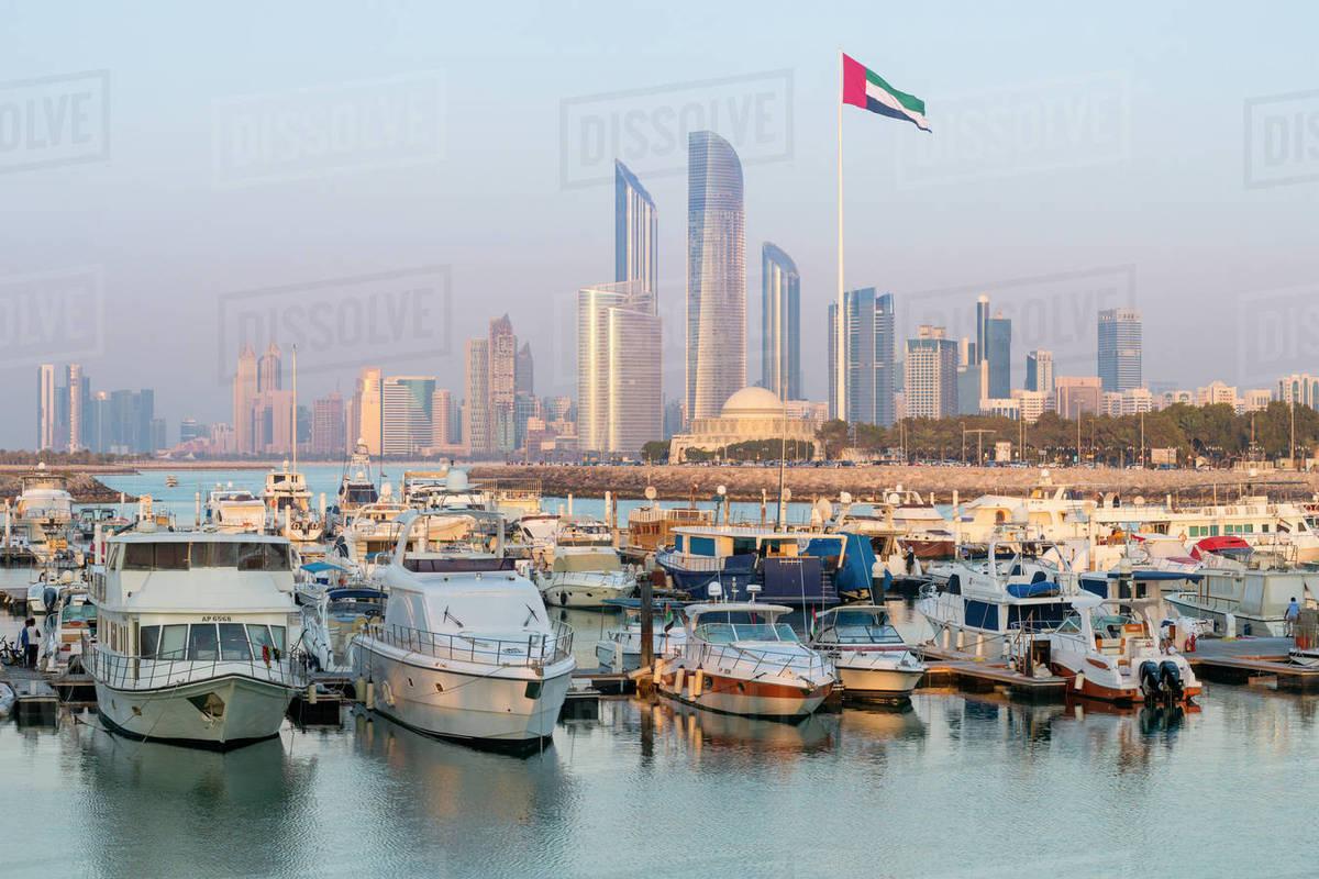 Modern city skyline and Marina, Abu Dhabi, United Arab Emirates, Middle  East stock photo