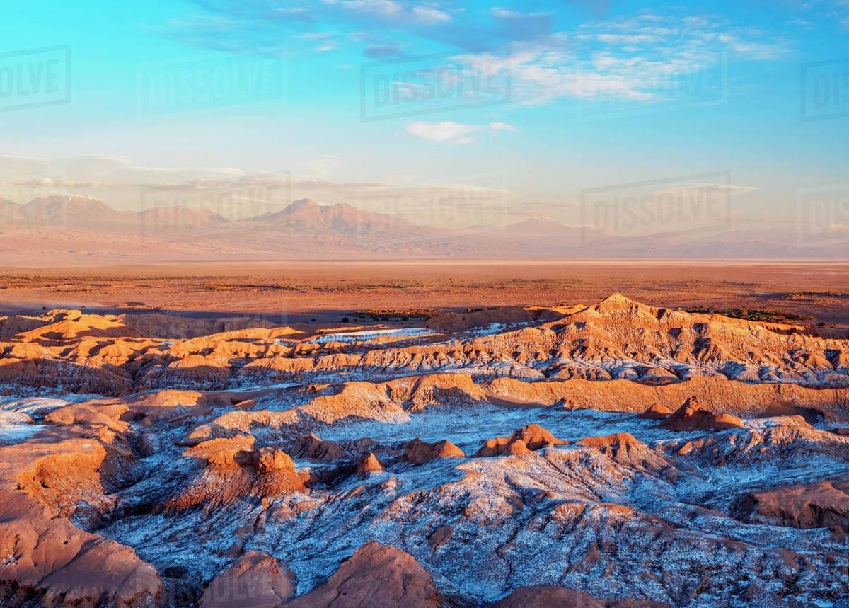 Valle De La Luna Valley Of The Moon At Sunset Near San Pedro De Atacama Elevated View Atacama Desert Antofagasta Region Chile South America Stock Photo Dissolve