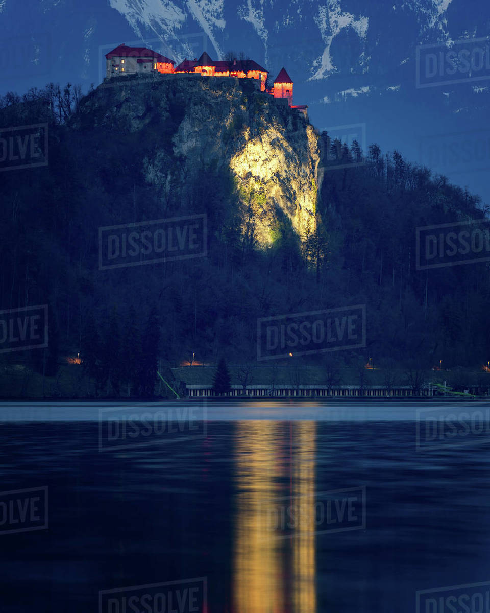 Bled Castle At Night Lake Bled Slovenia Europe Stock Photo