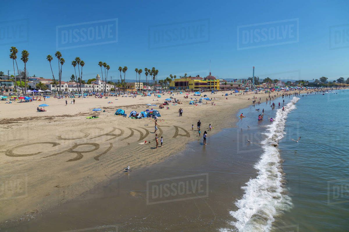 View Of Main Beach From Munil Wharf Sant Cruz California United States America North