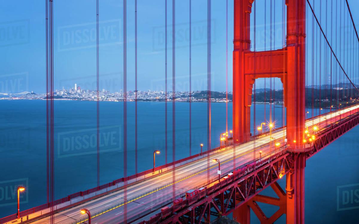 View Of Golden Gate Bridge From Golden Gate Bridge Vista Point At Dusk San Francisco California United States Of America North America Stock Photo