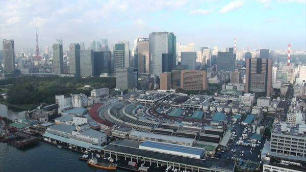 Skyline Tokyo and the Tsukiji fish market in timelapse Royalty-free stock video