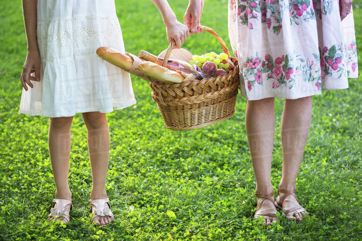 Summer - family picnic in the meadow.  girls holding a basket for a picnic with baguette, wine, glasses, grapes and rolls Royalty-free stock photo