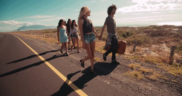 Back shot of hipster group of friends walking on road side of highway, holding hands and carrying a suitcase Royalty-free stock video