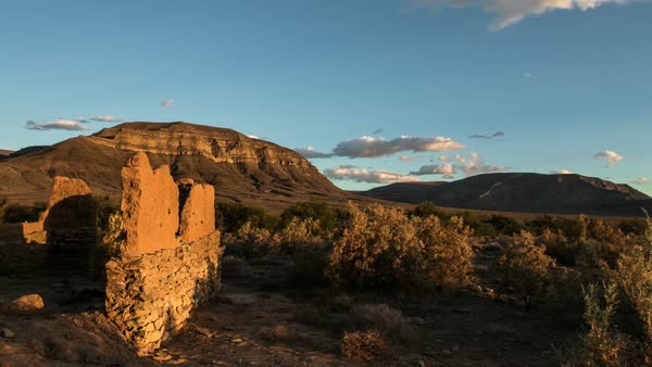 Timelapse of clouds in desert with old ruins Royalty-free stock video