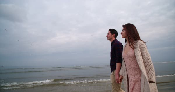 Young man and woman walking at the beach, holding hands, looking at flying birds Royalty-free stock video