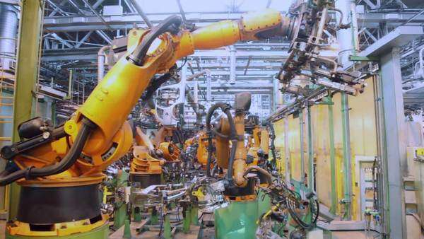 Robotics work in production line of car parts at factory Royalty-free stock video