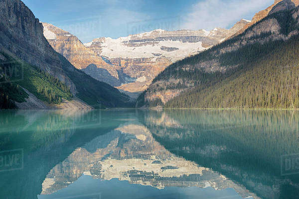 Canada, Banff National Park, Lake Louise, with Mount Victoria and Victoria Glaciers Royalty-free stock photo