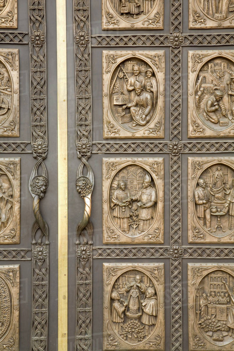 NM New Mexico Santa Fe Cathedral Church of St. Francis of Assisi Bronze doors and door panels & NM New Mexico Santa Fe Cathedral Church of St. Francis of Assisi ...