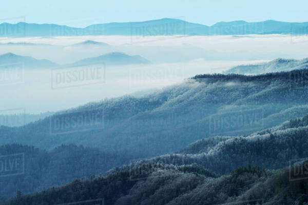 Winter view of Thomas Divide, Great Smoky Mountains National Park, North Carolina Royalty-free stock photo