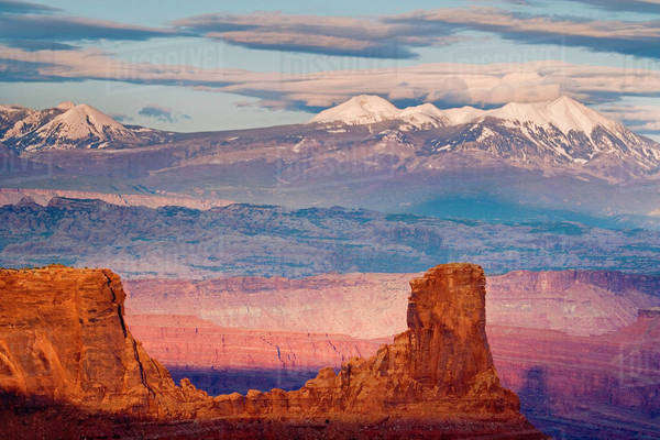 USA, Utah. Scenic of La Sal Mountains from Dead Horse Point State Park. Royalty-free stock photo