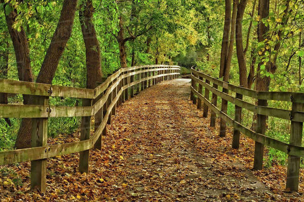 USA, Indiana. City hiking trail by the Wabash River Royalty-free stock photo