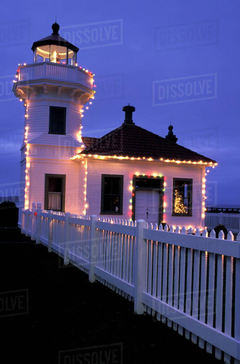 n a usa washington mukilteo mukilteo lighthouse with christmas