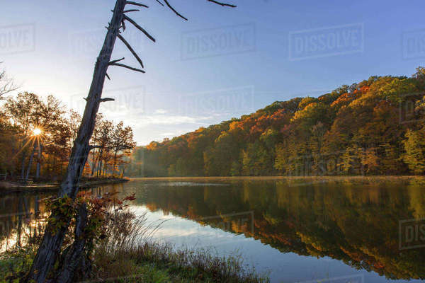 Lake Ogle in autumn in Brown County State Park, Indiana, USA Rights-managed stock photo