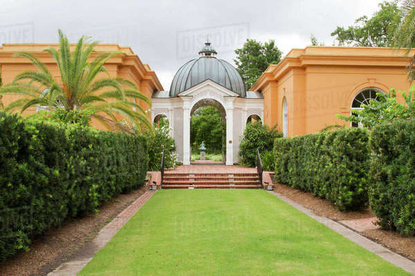 LA, New Orleans, New Orleans Botanical Garden, Entrance and Pavilion ...