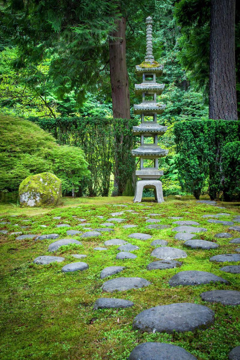 Pagoda In The Japanese Garden, Portland, Oregon, USA.