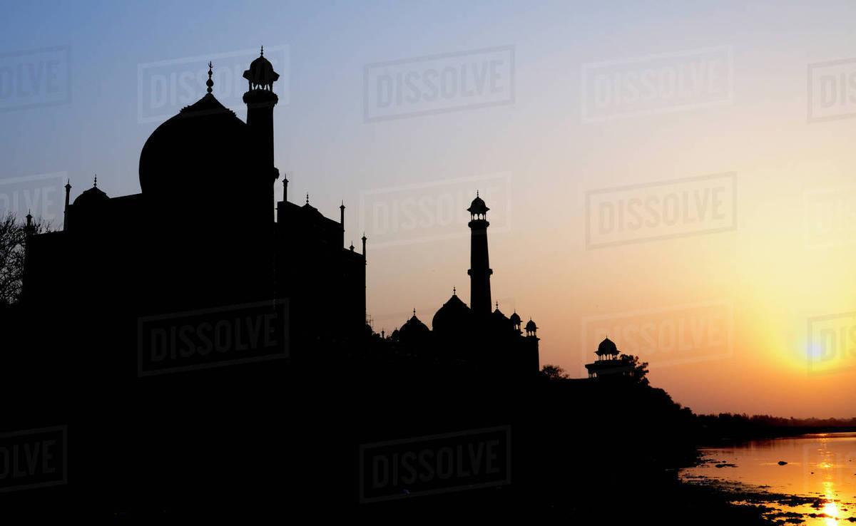 Silhouette Of The Taj Mahal At Sunset Agra Uttar Pradesh India Stock Photo