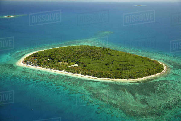 Bounty Island, Mamanuca Islands, Fiji, South Pacific, aerial Rights-managed stock photo