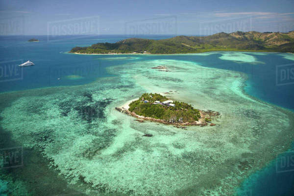 Wadigi Island, Mamanuca Islands, Fiji, South Pacific, aerial Rights-managed stock photo