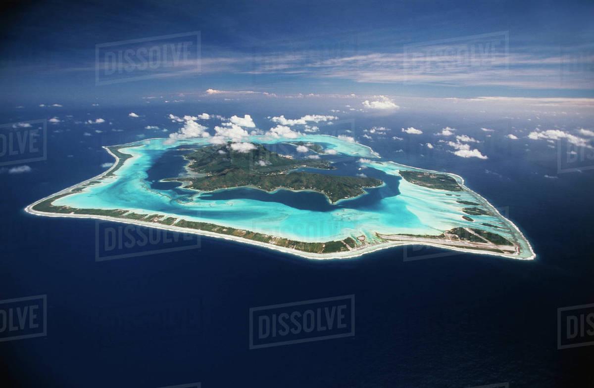 French Polynesia Bora Bora Aerial View Of Bora Bora Island D256 51 840