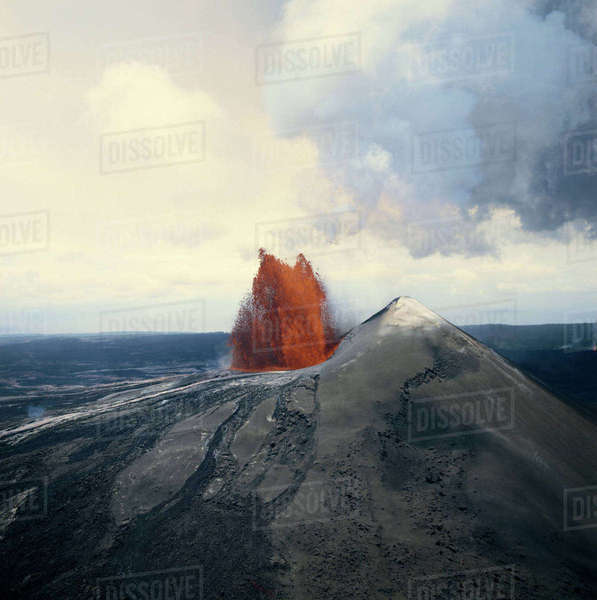 Hawaii Islands, Pacific Islands, Exploding volcano Rights-managed stock photo
