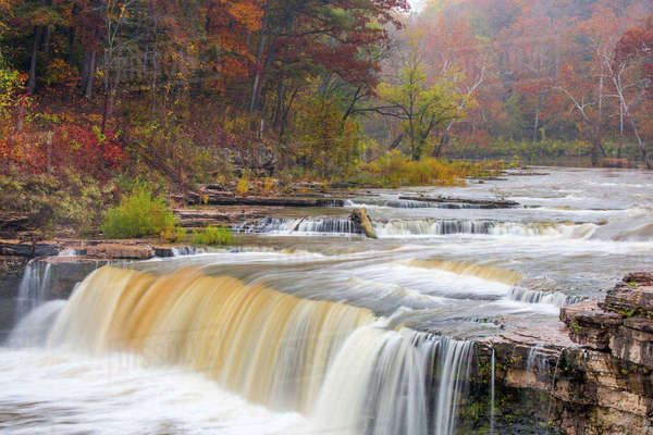 Lower Cataract Falls on Mill Creek in autumn at Lieber State Recreation Area near Cloverdale, Indiana, USA Rights-managed stock photo