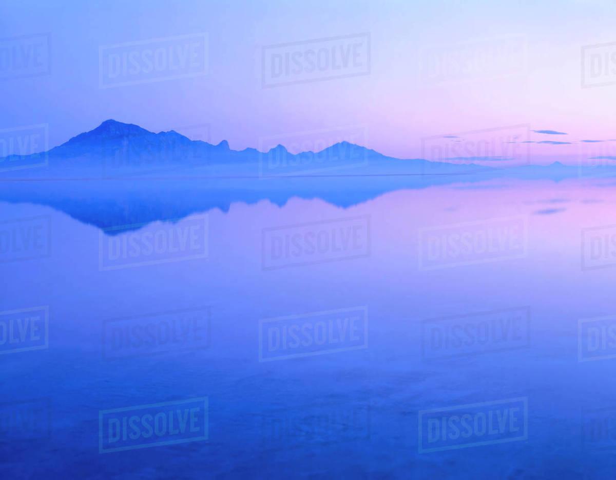 Utah Silver Island Mtns Dawn Reflected In Bonneville Salt Flats