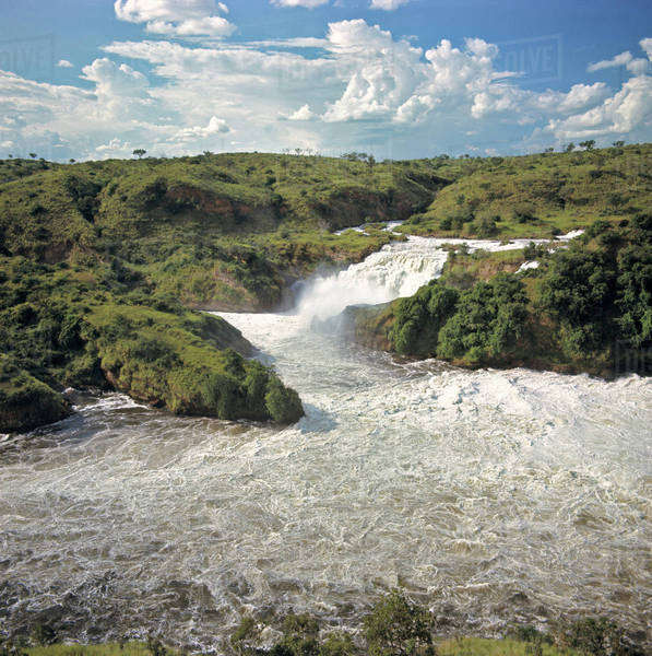 Africa, Uganda, Murchison Falls National Park. The Victoria Nile creates Murchison Falls in Uganda as it flows downstream. Royalty-free stock photo