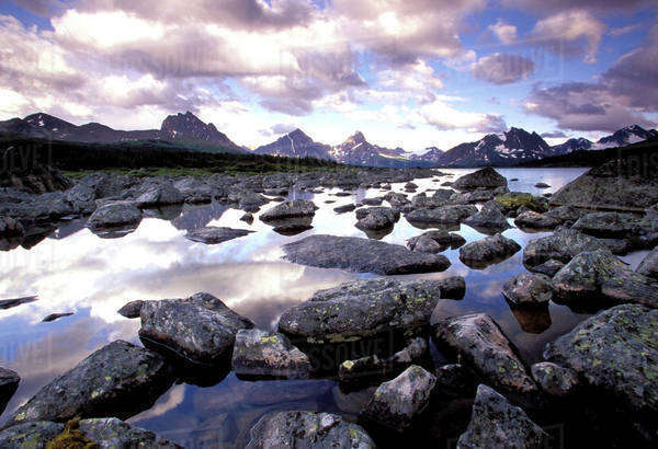 North America, Canada, Alberta, Jasper National Park, Tanquin Valley. View from Amethyst lakes Royalty-free stock photo