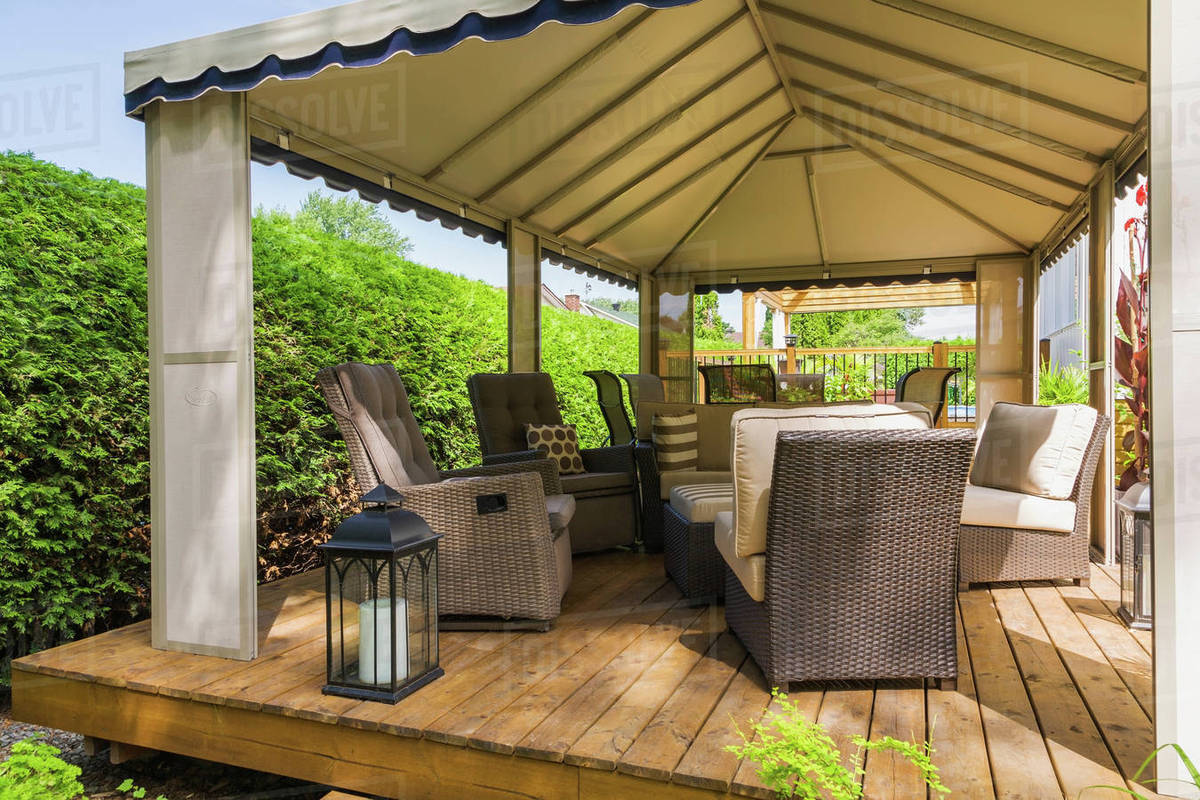Gazebo On Wooden Deck Furnished With