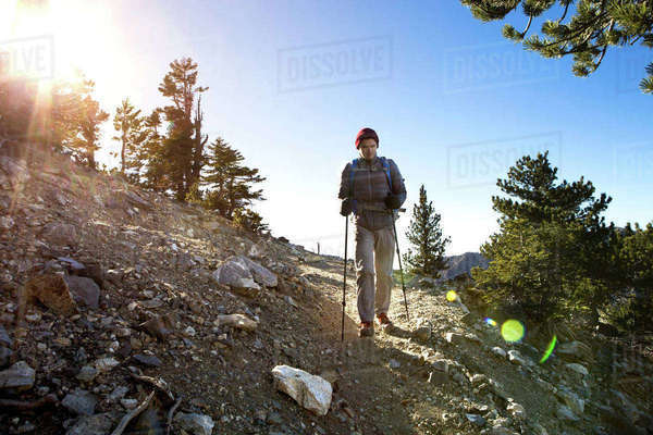 Hiker walking Cucamonga Peak, Mount Baldy, California, USA Royalty-free stock photo