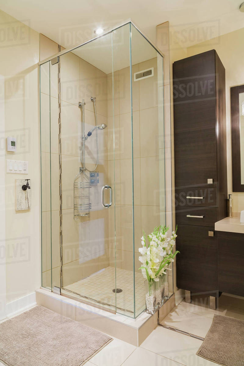 Contemporary Brown Laminated Wood Vanity And Clear Glass Shower