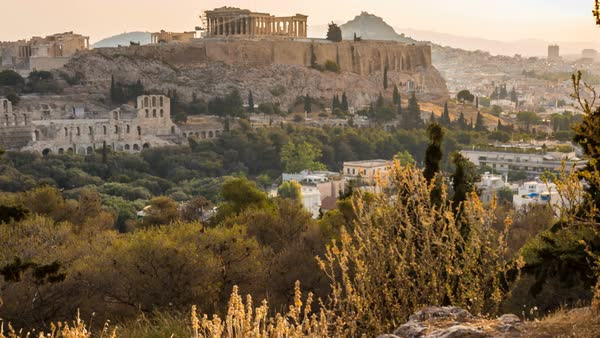 Old ruins of Acropolis on hill Royalty-free stock video