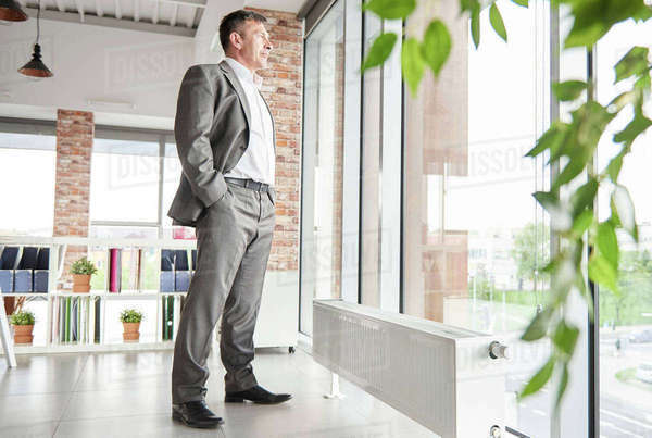 Full length businessman, hands in pockets looking out of window Royalty-free stock photo