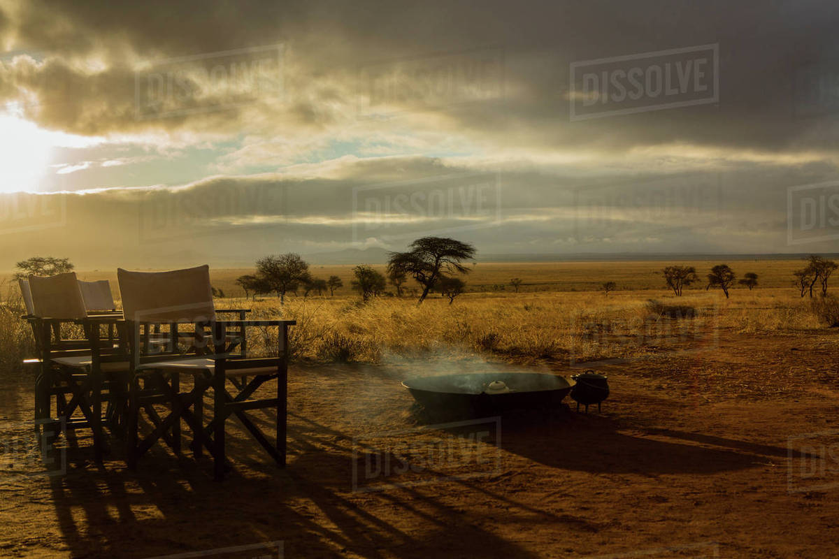 Camp Fire And Chairs, Tarangire National Park, Tanzania, Africa