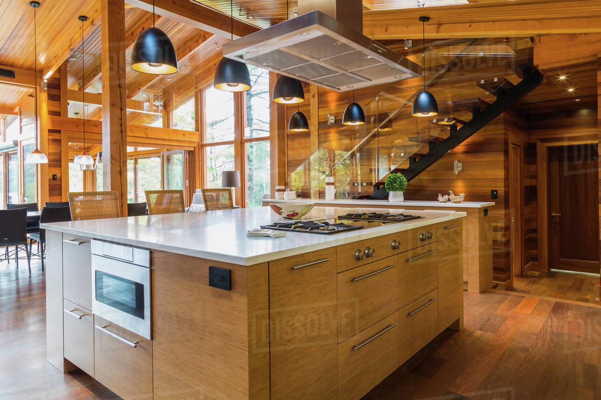 Bamboo wood kitchen island with white quartz countertops, luxurious cedar  D25_157_070