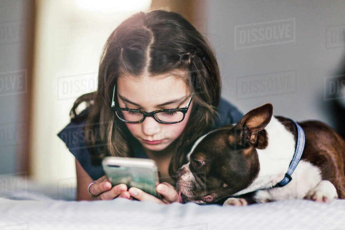 Girl using smartphone beside pet dog on bed Royalty-free stock photo